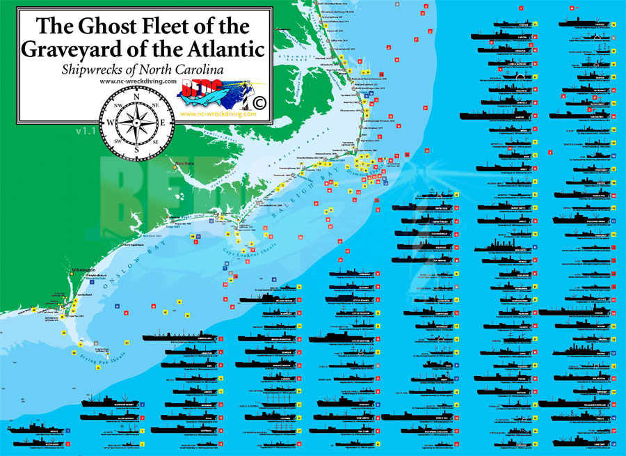 North Carolina Shipwrecks - Map of north carolina coast
